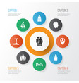 human icons set with courier speaker sleeping vector image
