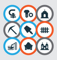 industry icons set with scraper chapel temple vector image