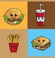 kawaii set fast food icon adorable expression vector image vector image