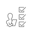 man with checklist line icon on white background vector image vector image