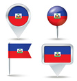 Map pins with flag of Haiti vector image vector image