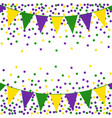 mardi gras background with beads and flags vector image vector image