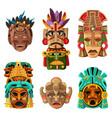 mayan mask cartoon set vector image vector image