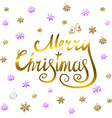 Merry Christmas - gold glittering lettering design vector image vector image