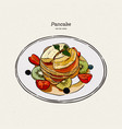 pancakes pastries sweets tasty breakfast in the vector image vector image