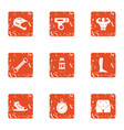 physical fitness icons set grunge style vector image
