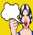 Pop art girl with cloud speach resize vector image vector image