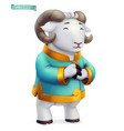 ram sheep funny animal in chinese zodiac vector image