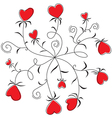 Round Dance flowers hearts vector image