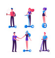 set people riding ecology transport as scooter vector image vector image