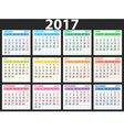 simple calendar 2017 vector image vector image