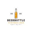 simple retro beer bottle logo design vector image