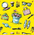 sketch female fashion accesorize seamless pattern vector image vector image