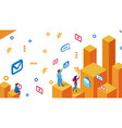 social network users send messages flat vector image