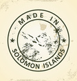 Stamp with map of Solomon Islands vector image