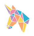 triangle geometric origami unicorn pastel colorful vector image vector image
