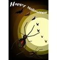 Two Evil Spiders on Full Moon Background vector image vector image