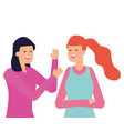 two women characters portrait on white background vector image vector image