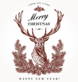 Vintage Christmas card Deer vector image