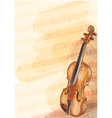 Violin on music background with handmade notes vector image vector image