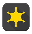Western sheriff star flat app icon with long vector image