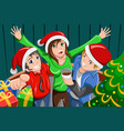 young people having a christmas party vector image vector image