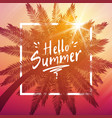 hello summer background with palm and frame vector image