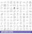 100 hero icons set outline style vector image