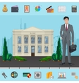 Bank manager near Bank building with modern vector image