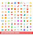 100 honeymoon icons set cartoon style vector image vector image
