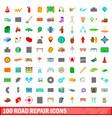100 road repair icons set cartoon style vector image vector image