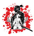 2 samurai composition with swords cartoon graphic vector image vector image