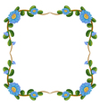 A border design with blue flowers vector image vector image