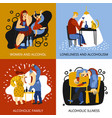 alcohol addiction concept icons set vector image vector image