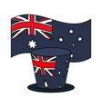 australia flag heart and top hat vector image vector image
