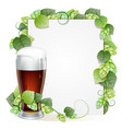 beer glass and hops branch vector image