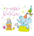 Birthday elephant and a parrot vector image