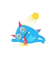 Blue Monster With Horns And Spiky Tail Heat vector image vector image