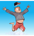 cartoon funny man happily jumping in the spray vector image vector image