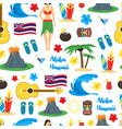 cartoon symbol of hawaii seamless pattern vector image