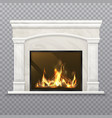 chimney or fireplace with burning wood vector image vector image
