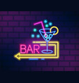 colorful neon bar signboard with martini glass and vector image