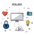 colorful poster of social media with desktop vector image vector image