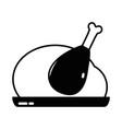 contour delicious chicken food roast taste vector image vector image