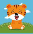 cute tiger animal cartoon vector image vector image
