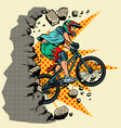 cyclist extreme sports wall breaks vector image