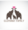 family elephants and pink heart vector image vector image