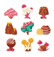 Fantasy Sweet Trees Set vector image vector image