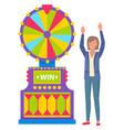 female winning fortune gambling machine vector image vector image