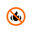 fire symbol combined with prohibition vector image